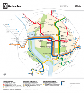 Selective magnification of an updated DC metro map.  Original map design by Cameron Booth.
