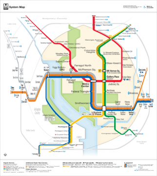 Orthogonal Selective Magnification of DC Metro Map (original design by Cameron Booth)